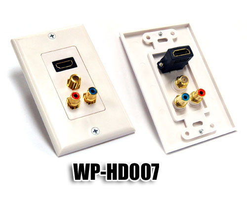 Generic WP-HD007 Single HDMI w/ Ternary RCA Jacks Plate