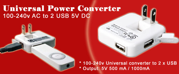 Generic Universal AC to 2 x USB Power Adapter Converter