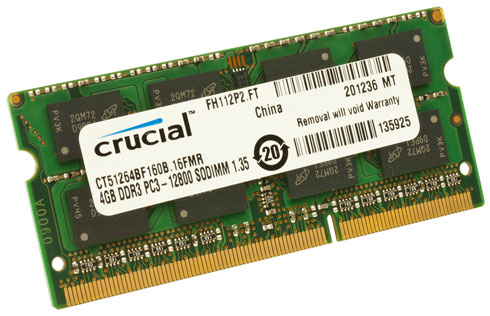 Crucial 4GB DDR3-1600 PC3-12800 SODIMM Memory CT51264BF160B