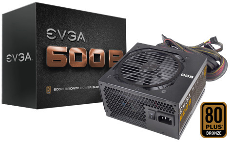 600W eVGA 600B 80+ Bronze ATX Power Supply 100-B1-0600-KR