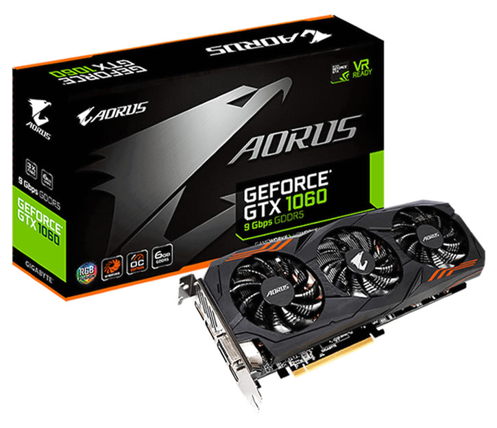 Gigabyte 6GB GTX 1060 REV 2.0 DDR5 PCI-Express GV-N1060AORUS-6GD